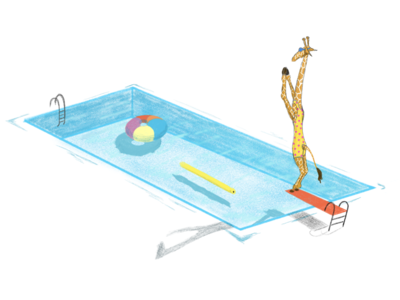 The Diving Giraffe graphic illustration branding noodle shadow water ladder floating diving summer tube swimming pool giraffe