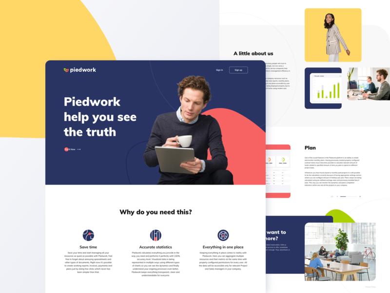 Piedwork minimal product management dashboard site landing design ux ui