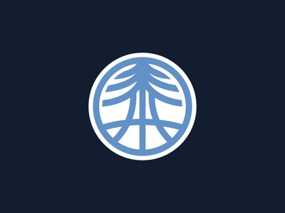 Prospect Redwood Basketball Icon badge sports nature branding circle red and white navy columbia illustrator icon tree redwood basketball