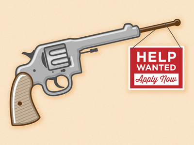 Secret Weapon in Hiring illustration help wanted revolver