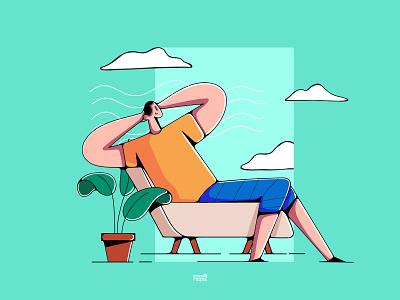 Enjoy relaxation doodleart doodle color 2020 relaxing app relaxing web ux app ui branding illustration flat vector character 3d 2d