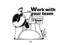 Work with your team blackandwhite team doodle photoshop design web app ui ux branding color illustration flat character 2020 3d 2d
