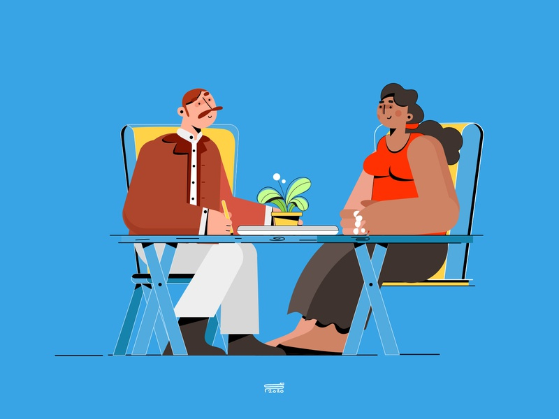 Interview simple 2020 job interview motiongraphics animation app web ux branding ui illustration flat vector character 3d 2d