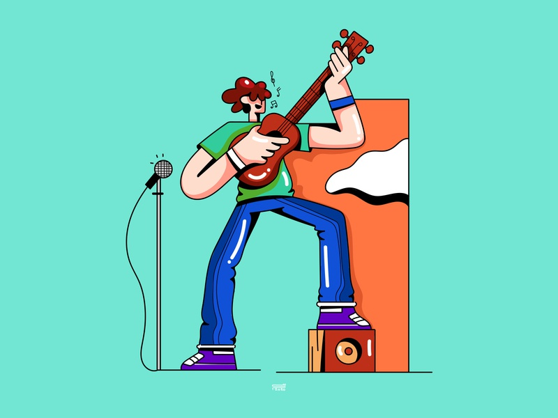 Music guitar music app music application web banner web design app branding ui ux color vector illustration character flat 2d