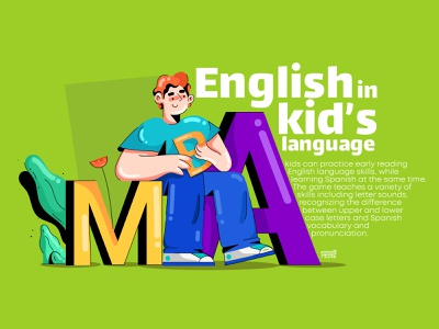 English in kid's language kids learning english english design web branding app ux ui illustration flat vector character 2d animation 3d 2020 2d