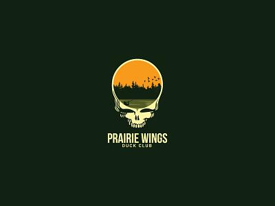Prairie Wings Duck Club Logo Iteration hunting duck branding grateful dead design illustration brandidentity logo