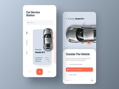 Car Service Station iphone x concept vehicle mechanic porsche service iphone cards minimal design colors clean ux ui mobile ios car app