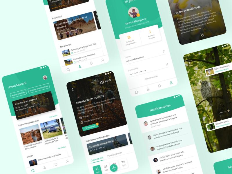 Caribou App adventure nature profile interface camping trip planner trip travel app travel design app ux app design ui