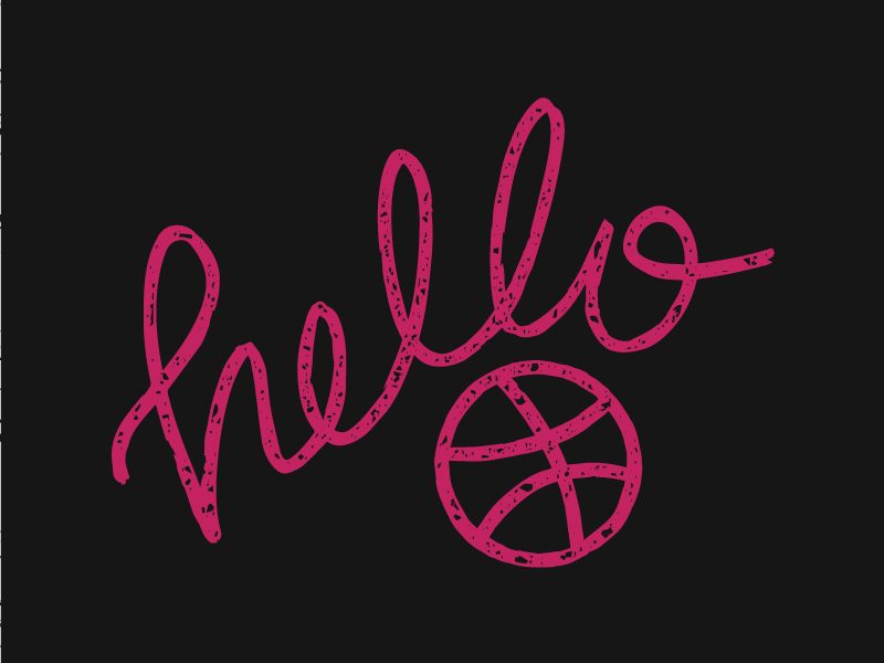 Hello Dribbble graphic design debut welcome hello typography