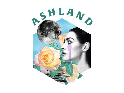 Ashland collage art collage ashland woman cry moon rose texture illustration clothing band band merch design merch apparel design apparel