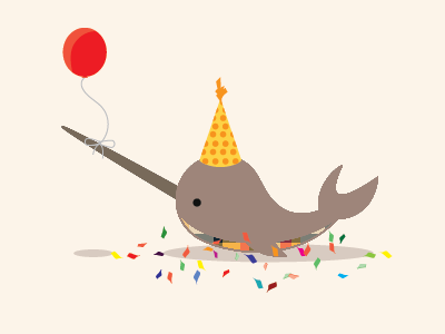 Birthday Narwhal narwhal illustration balloon confetti birthday party cute