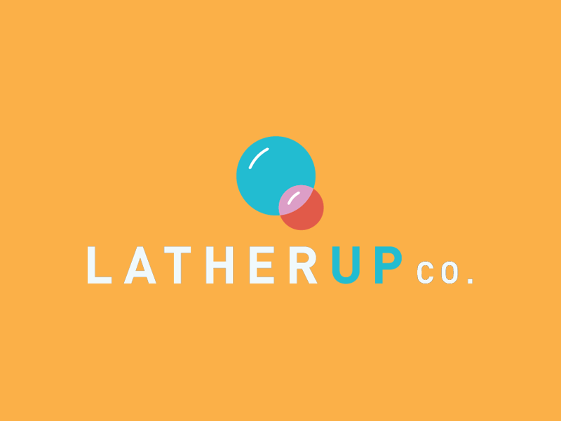 LatherUp Co. colorful clean minimal logo bubbles soap baby lather