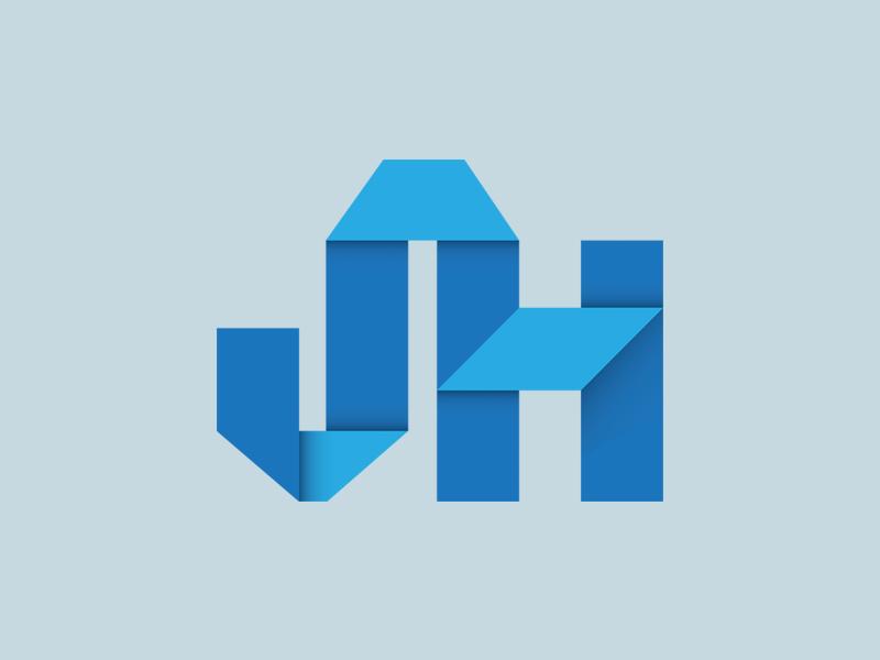 Jordan Hall Creative  personal logo blue lettering origami logo