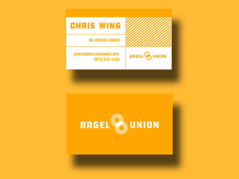 Bagel Union Branding business card thick lines farmers market bagel union branding bakery startup bagels ddc portlandnw portland pdx