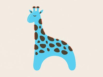 Giraffe stuffed animal animal geometric cute mid-century modern flat plush stuffed animal illustration