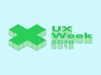 Knocked-over logo event ux halftone identity x wordmark branding pointulism dots comics logo