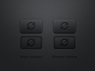 Freebie Dark Button Template iconsweet button reload icon dark grey iphone retina ios ui noise glow arrow freebie free psd photoshop file download