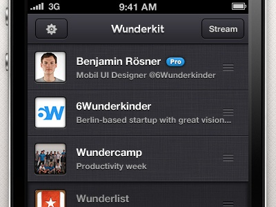 Wunderkit iPhone App - Sidebar wunderkit 6wunderkinder iphone ios app sidebar workspace