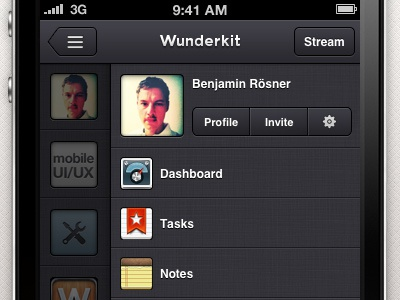 Wunderkit iPhone App - Sidebar Workspace wunderkit 6wunderkinder iphone ios app sidebar workspace dashboard task note