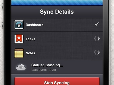 Wunderkit iPhone App - Sync Details wunderkit 6wunderkinder iphone ios app sidebar workspace sync dropdown bar spinner checkmark cloud pull down