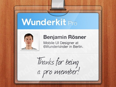 Wunderkit iPhone App - Pro Member Card wunderkit 6wunderkinder iphone ios app card pass pro member