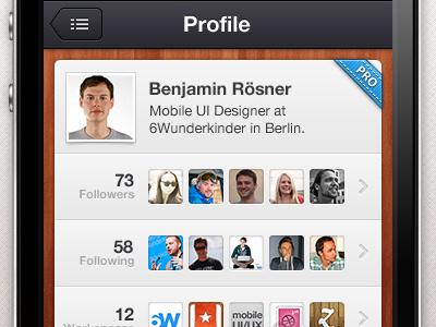 Wunderkit iPhone App - User Profile picture image wood wunderkit iphone app 6wunderkinder user profile pro badge follower stats statistic avatar premium
