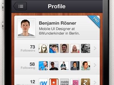 Wunderkit iPhone App - User Profile picture image wood wunderkit iphone app 6wunderkinder user profile pro badge follower stats statistic avatar premium