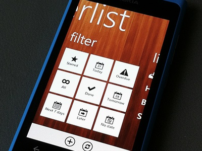 Wunderlist for Windows Phone 7 wunderlist 6wunderkinder app ui wood task todo filter starred today tile windows phone 7 metro