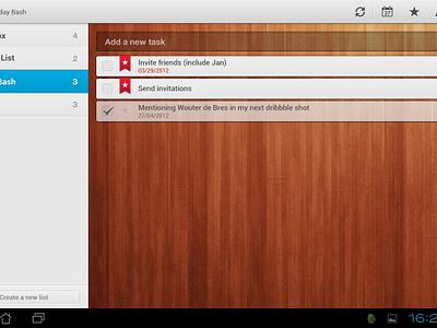 Wunderlist for Android Tablet wunderlist 6wunderkinder task todo wood list badge star duedate checkmark today android tablet productive ribbon app