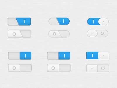 Toggle Switches on off i o button ios iphone paper ui interface slider