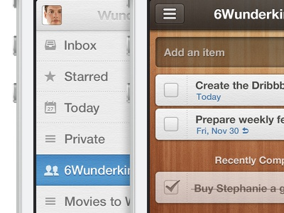 Wunderlist 2 for iPhone wunderlist iphone ios mobile interface todo wood task ckeckmark starred share