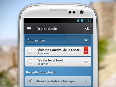 Wunderlist 2 for Android wunderlist todo task organize trip ribbon star item blue android app interface ui