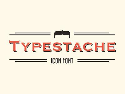 Typestache Icon Font – headline draft vintage old font mustache typography beard icon line header