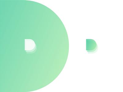 D Logo Design Concept simple modern minimal green gradient d logo d logo icon branding