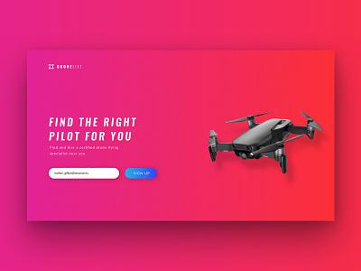 Dronelist Splashpage drone brand identity minimal red logo branding