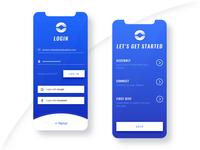 Clean App Login & Walkthrough Screens