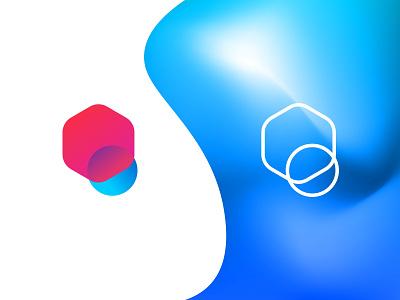 Interlinked Polygon/Pixel Logo red and blue brand identity icon gradient modern minimal branding logo