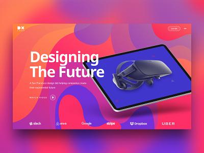 DX LABS home page hero image landingpage clean 3d branding gradient modern