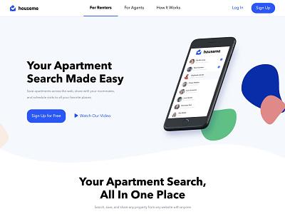 Houseme startup productivity new york real estate app saas website saas minimal