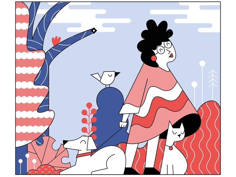 Girl Sunday Illustration flat drawing minimal characterdesign vector design illustration