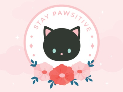 Stay Pawsitive simple character design cute cat illustration