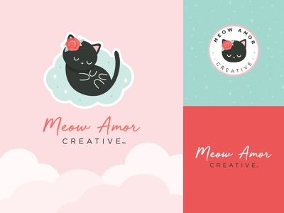 Meow Amor Creative cat cute badge colors logodesign logo branding brand refresh