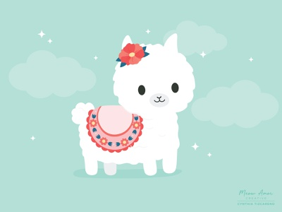 Llama simple vector design character design floral animals character illustration cute