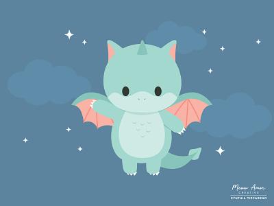 Dragon design childrens book vector illustration vector baby mystical character art dragon cute