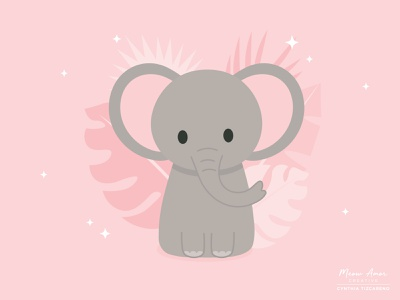 Elephant zoo kids children design vector illustration simple character design safari cute animals elephant cute