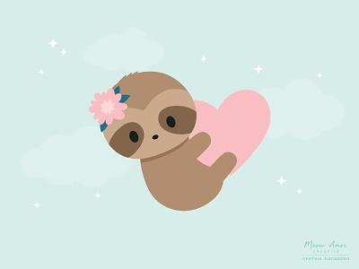 sloth baby simple character design design animals cute kawaii child vector love sweet sloth