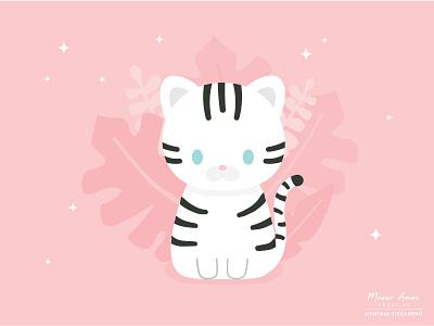 Snow Tiger animals character design simple cat design vector illustration cute animals tiger snow tiger cute