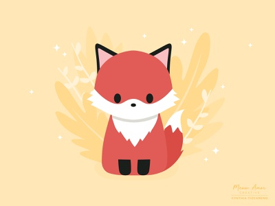 Fox flat character design animals design vector illustration floral sweet red cute fox