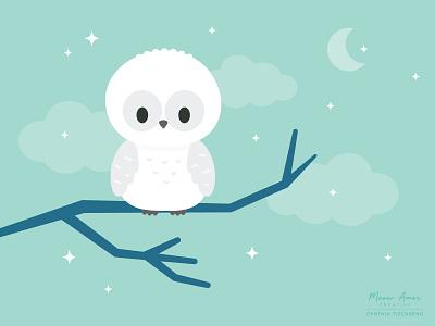 Snowy Owl white owl snowy owl owl animals flat character design simple design vector illustration cute