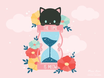 The time is meow character design simple design vector illustration black card motivation clock time black cat cute